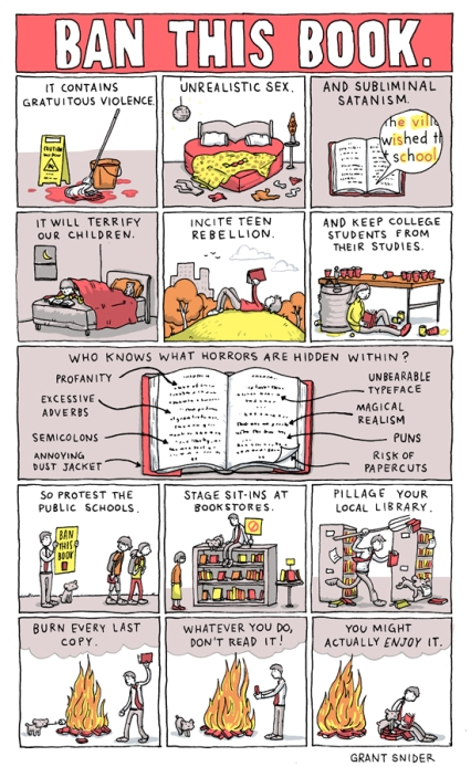 'Ban This Book' by the brilliant Grant Snider / Incidental Comics